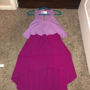 Purple and Pink Hi-low Dress